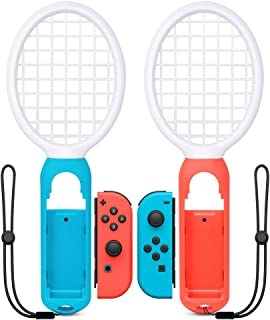 UMTELE マリオテニス エースに対応テニスラケット ラケット型アタッチメント Nintendo Switch Joy-Con用 ハンドル マリオテニスなどのテニスゲームに対応 落下防止ストラップ付き 軽量ABS製 テニスゲームの臨場感 2個セット (ブルー·レッド)