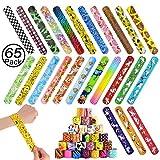 JiaHome Slap Bracelets à Claquer 65Pcs Slap Bracelets pour l'anniversaire Anniversaire Enfant Parti Sac Remplisseurs Cadeau Party Favors pour Filles Garçons