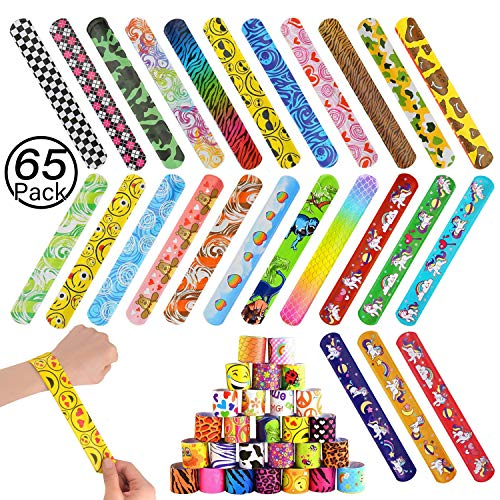 JiaHome 65Pcs Slap Bracelets, Gadget Bracciali a Scatto , Bomboniere Party Supplies Favors per Bambini,Divertenti e Super Slap Bands con Colorati ,Unicorno Braccialetti Slap
