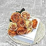 Aya611 1 Bouquet 9 têtes Artificielle Pivoine Fleur thé Rose de Haute qualité Soie Fleur Artificielle Bricolage Famille Jardin Mariage déco Yellow