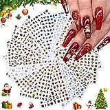 Kalolary 16P Weihnachten Nail Art Aufkleber, 3D Weihnachten selbstklebender Nagelaufkleber, Schneeflocke Schneemann Weihnachtsmann Glocken Elch Nail Art Sticker für Weihnachten Nail Art Dekoration