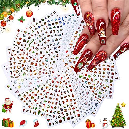 Kalolary 16P Adesivi natalizi per nail art, Decalcomanie per unghie natalizie autoadesive 3D Fiocco di neve pupazzo di neve Bell Elk Nail Art Sticker Per la decorazione delle unghie fai da te