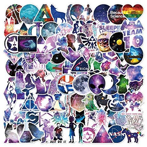 Hopasa Vinyl Stickers [100 pcs], Galaxy Stickers para niños Coche Bicicleta Calcomanía de Equipaje Parches de Graffiti Pegatinas de Skate para Botella de Agua - Paquete de Pegatinas sin duplicar