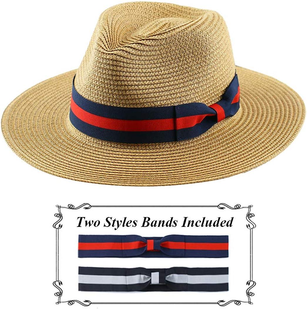 Straw Hat for Women Beach Hats Summer Sun Panama Wide Brim Floppy Fedora Cap UPF50+
