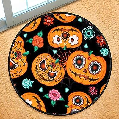 Halloween Mat Pumpkin Doormat Round Rugs Funny ...