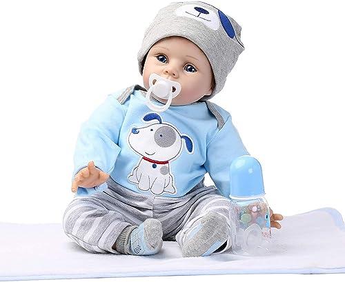 0Miaxudh Rebornpuppe, sü Größe Augen Reborn Babypuppe, Vinyl Silikon lebensechte Spielzeug, Kinder begleiten, Geschenk