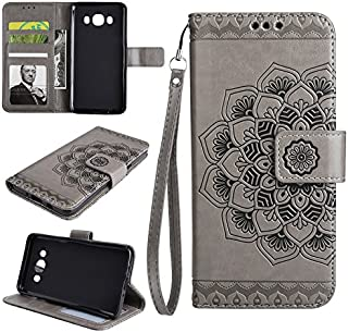 Protective Case Compatible with Samsung Embossed Half Flower Design Wrist Strap Premium PU Leather Wallet Pouch Flip Stand Case Compatible Samsung Galaxy J5 2016 J510 Phone case (Color : Gray)