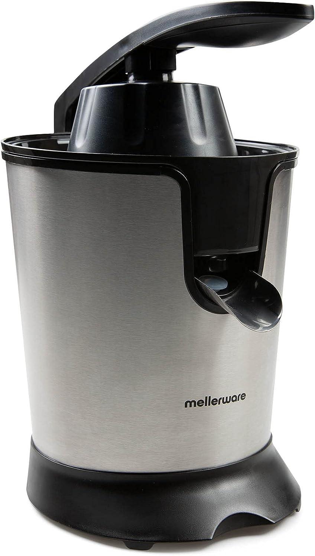 Mellerware - Exprimidor Eléctrico Profesional Juicy! 300W | Vertido Continuo | Sistema Antigoteo | 2 Filtros | 2 Conos intercambiables | Motor AC | Apto Lavavajillas | Zumos de naranjas | (Black)