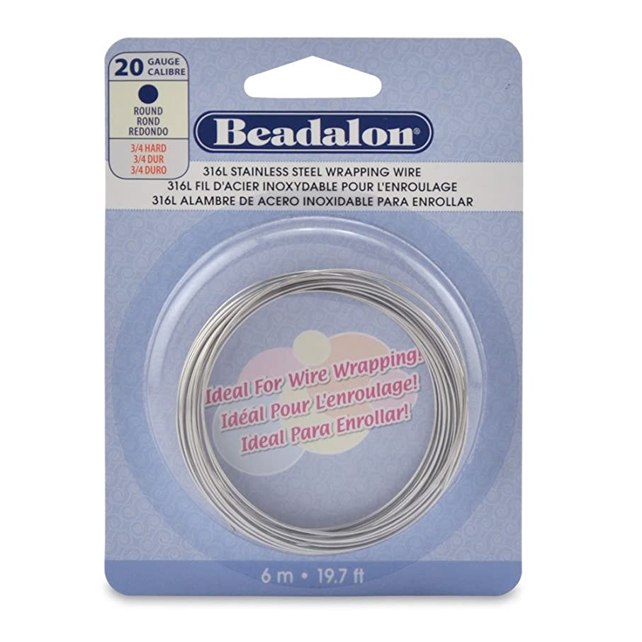 Beadalon Round Wire 316L Stainless Steel 20 Gauge, 6-Meter