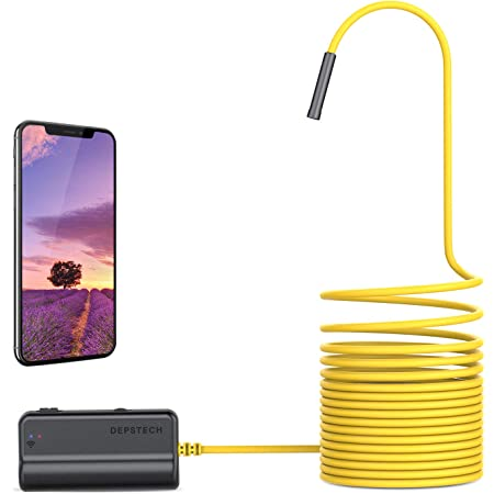 HSKB WiFi Endoscope Endoscope Camera IP67 Waterproof Auto Focus 2.0MP Flexible Camera Semi-Rigid Cable HD 1080P Wireless Inspection Camera with 6 LED Lights for Android Tablet Windows 5M