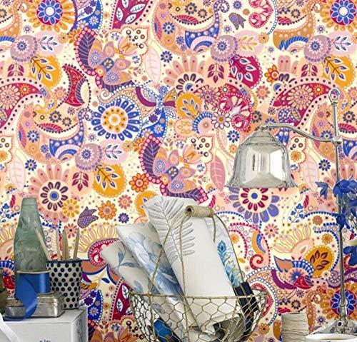 Papel pintado étnico bohemio europeo para paredes 3d fondos de pantalla de pintura abstracta colorida para decoración de sala de estar rollo de papel tapiz 3D @ 300 * 210