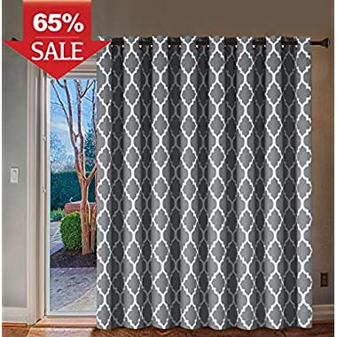 H.Versailtex Energy Efficient Printed Curtains Extra Long and Wide Thermal Insulated Panels -Grommet Wider Curtain Large Size 100 W by 84 L for Patio-Moroccan Tile Quatrefoil Pattern in Grey, 1 Panel