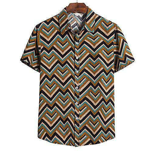Camisa Hombres Manga Corta Chic Estampado Shirt Hombres Clásica Botones Cuello Kent Tops Hombres Estilo Urbano Moderno Hawaii Sandy Beach Vacaciones Camisa Hombres