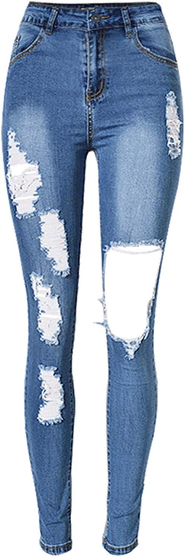 Jeans pour Femmes Taille Coton Élastique Pantalon Chic en Denim Extensible Jean Blau 3