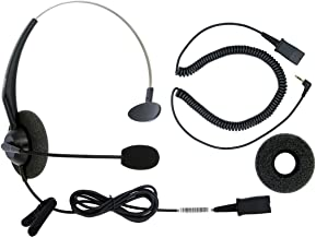 DailyHeadset 2.5 mm Jack Corded Phone Headset QD Over Ear Headphones for Cordless IP Phone Home Landline Telephone