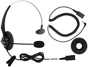 DailyHeadset 2.5 mm Jack Corded Phone Headset QD Over Ear Headphones for Cordless IP Phone Home Landline Telephone