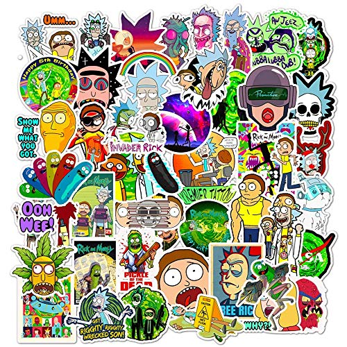 50 pcs Rick Morty Vinyl Waterproof Stickers, for Laptop, Luggage, Car, Skateboard, Motorcycle, Bicycle Decal Graffiti Patches