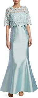 Teri Jon Floral Short Sleeve Popover Evening Gown Dress