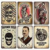6Pcs Shabby Chic Vintage Barber Shop Letrero De Metal Retro Craft Pin Up Tintin Placas De Hojalata P...