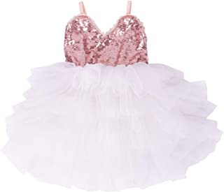 Girls Dress Toddler Kids Party Dress Sequin Tutu Pageant Lace Dresses Gown for Flower Girl Baby Rose Gold/Pink Peach