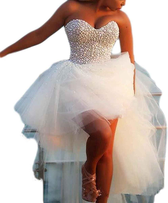 LastBridal Women Sweetheart Peals Hi Lo Lace Up Wedding Dresses Bridal Gowns WD0033