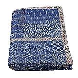 Janki Creation Indische indische indigoblaue Tagesdecke Baumwolle Kantha Quilts handgefertigt Tagesdecke Überwurf Bettwäsche Twin Patchwork Kantha Decke