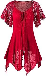 Women Bandage High Waist Short Sleeve Lace Floral Patchwork Irregular Mini Dress