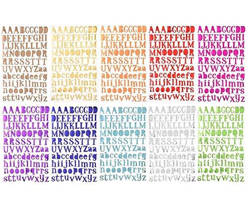 10pcs Carta Pegatinas Del Alfabeto Autoadhesivo, Pegatinas de Letras Alfabeto para Scrapbooking Manualidades Decoraci贸n Adornos, Cada Color One Hojas,10 Colores