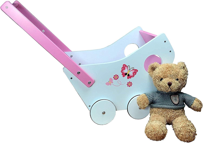 Tiktaktoo Doll Pram Incl. Plush Teddybar Wood with Rubber Tires Pink White