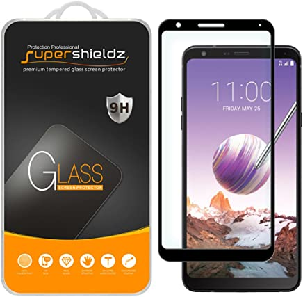 [2-Pack] Supershieldz for LG Stylo 4 Tempered Glass Screen Protector, [Full Screen Coverage] Anti-Scratch, Bubble Free, Lifetime Replacement (Black)