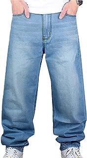 Pantaloni da uomo Hip Hop Jeans stile Hipster Baggy Jeans Rap Denim, Urbano Skate Jeans Gamba Destra Lâche Fit per gli ado...