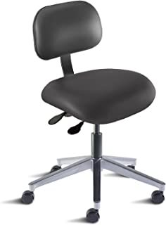 BioFit Engineered Products ETA-L-RC-AV126 Eton Series Desk Height Chair with Aluminum Base and Black Vinyl Upholstery, Black