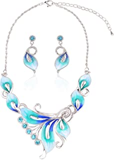 Best peacock feather necklace and earrings set Reviews