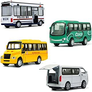 MinYn Die Cast Bus Toy Set Pull Back Model Car Play Kit Doors Openable Mini School Bus Coach Bus Gifts Kids - 4 pieces
