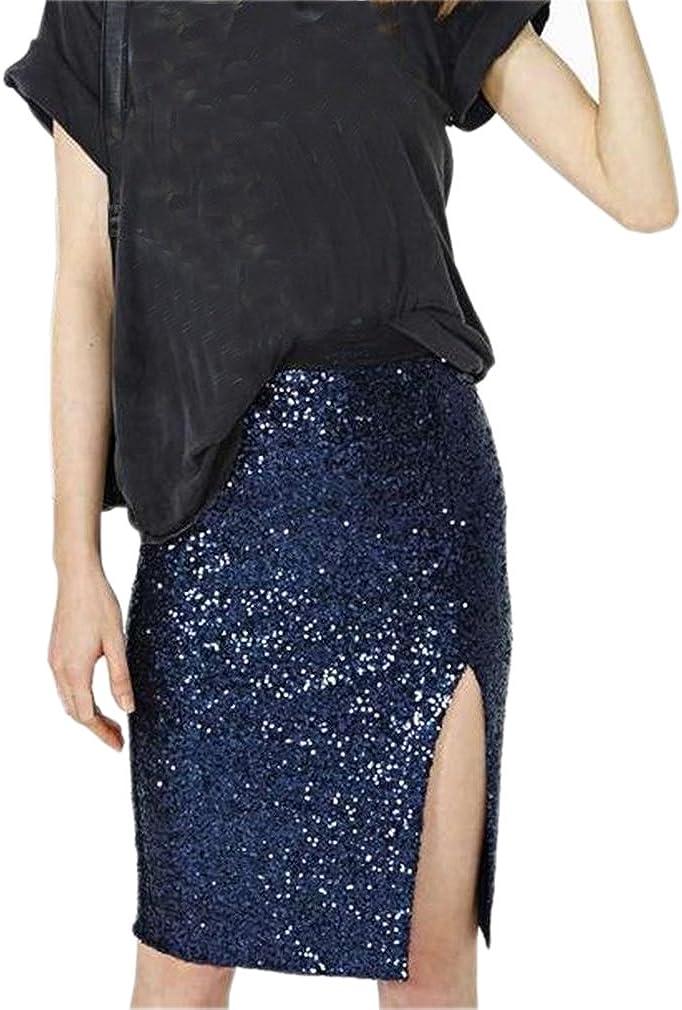 Lisong Women Knee Length Sequin Split Evening Party Prom Skirt