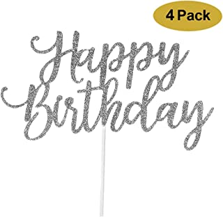 4 Pack Happy Birthday Cake Topper Glitter Silver, 1st First Happy Birthday Cupcake Topper, Glitter Silver Decoration