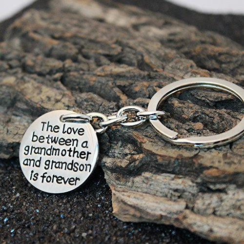 Christams Thanksgiving Key Chain Ring Family Gift The Love Between a Grandmother and Grandson is Forever Photo #6