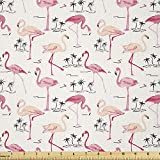 Ambesonne Flamingo Fabric by The Yard, Flamingos in Vintage Style Illustration Love and Romantic Animals Artwork Print, Stretch Knit Fabric for Clothing Sewing and Arts Crafts, 1 Yard, Beige Pink