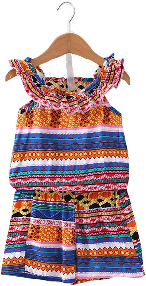 Gavol Toddler Baby Girl Bohemian Short Sleeveless Floral Dress Formal Summer Jumpsuit Overall Outfits