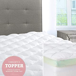 ExceptionalSheets Mattress Pad with Fitted Skirt - Double Thick Extra Plush Mattress Topper - 2 Pieces | Hypoallergenic Mattress Pads | Luxury Hotel Mattress Pad + Memory Foam Topper, King