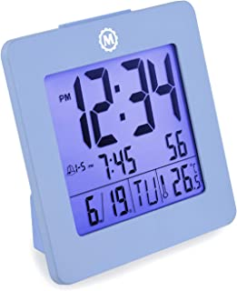 Marathon CL030050BL Digital Dual Alarm Clock with Day, Date, Temperature and Backlight. Color-Blue. Batteries Included