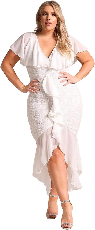 DESIGNER97 Women's Plus Size Chiffon Lace Ruffles V Neck Waterfall High Low Dovetail Party Dress
