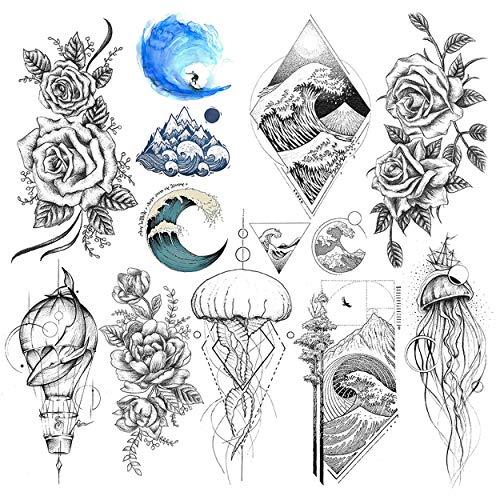LAROI 9 Hojas Grandes Olas Del Mar Surf Tatuajes Temporales Mujer Adultos Niños Impermeable Falso Razo Medusa Ballena Peonía Flor Tatuaje Pegatinas Para Niñas Piernas Muñeca Dibujo Tatuaje Temporal