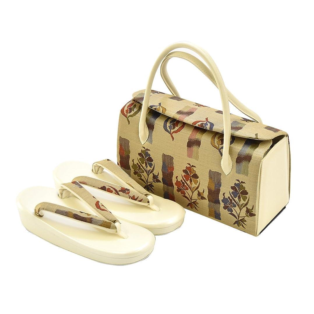 ロースト勇気のある第三草履 バッグ 正絹 草履バッグセット 小紋 紬用 フリーサイズ 日本製 レディース