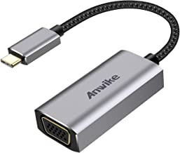 USB C to VGA Adapter(Thunderbolt 3 Compatible), ANWIKE Type C VGA Adapter Cable Converter(DP Alt Mode) Compatible MBP 2016/2017/2018 - Gray