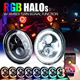Xprite 7 Inch Bluetooth RGB LED Headlights for 1997-2018 Jeep Wrangler JK TJ LJ, w/ Halo Ring DRL and Turn Signal Function, CREE Led Chip, 90W 9600 Lumens Hi/Lo Beam Round Headlamps