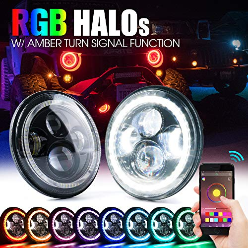 Xprite 7 Inch Bluetooth RGB LED Headlights for 1997-2018 Jeep Wrangler JK TJ LJ, w/Halo Ring DRL and Turn Signal Function, CREE Led Chip, 90W 9600 Lumens Hi/Lo Beam Round Headlamps