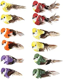 lwingflyer Artificial Simulation Foam Feather Bird, Mini Sparrow Ornaments DIY Craft for Wedding Decoration Party Accessories 9cm/3.54inch (12pcs)