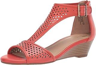 Aerosoles Women's Sapphire Wedge Sandal, Orange Leather, 9.5 W US