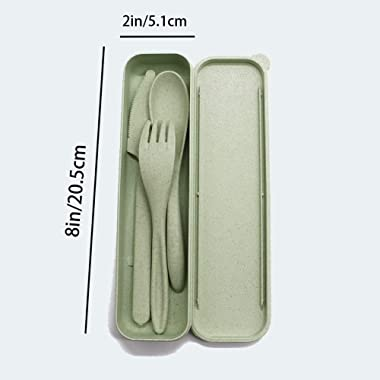 4 Sets Portable Wheat Straw Cutlery,Three-piece Reusable Knife,Fork and Spoon,Great for Celebrate Holidays,Picnics,Travel and